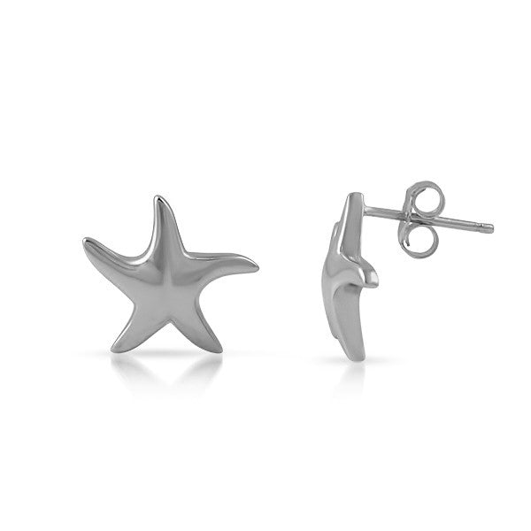 Polished Silver Starfish Earrings