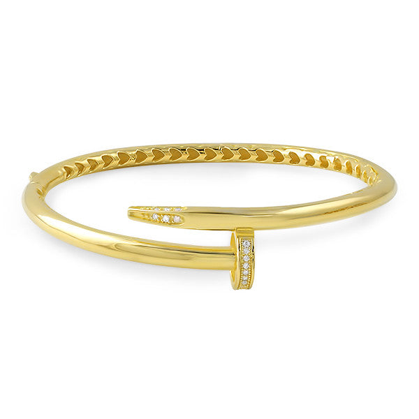 Gold Plated Designer CZ Nail Bangle
