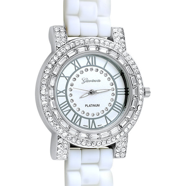 Baguette Crystal Fashion Watch White Rubber Band