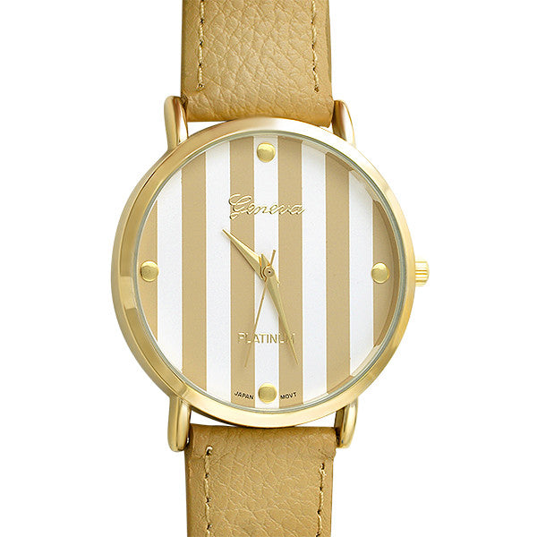 Gold Tone Tan Simple Round Fashion Watch