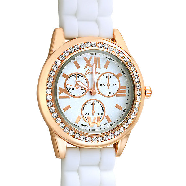 Sporty Rose Gold Fashion Watch White Band