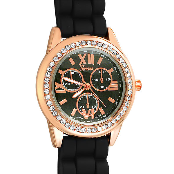 Sporty Rose Gold Fashion Watch Black Band