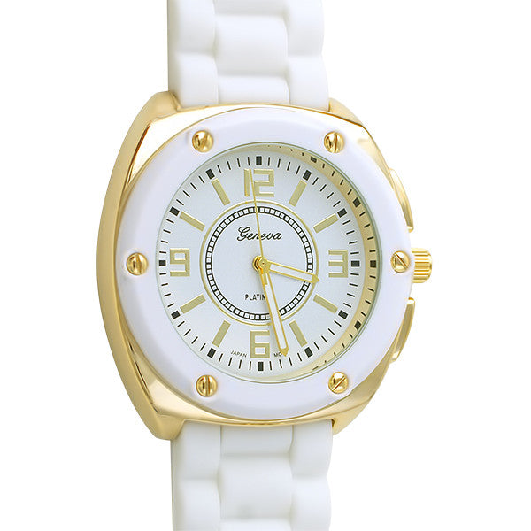 Sporty Womens Gold Fashion Watch White Band