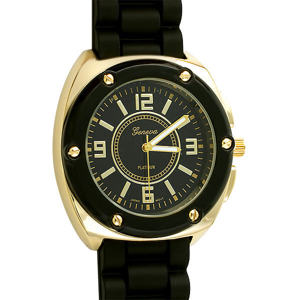 Sporty Womens Gold Fashion Watch Black Band