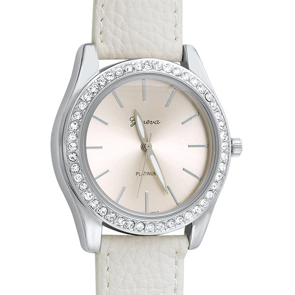 Classy Crystal Bezel Womens Watch White Band