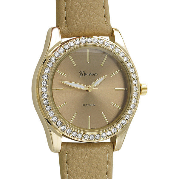 Gold Crystal Bezel Womens Watch Tan Leather
