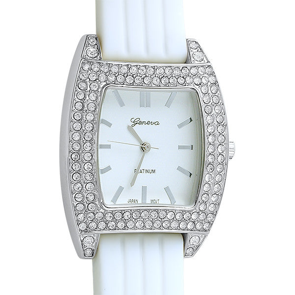 Silver Crystal Sporty Fashion Watch White Band