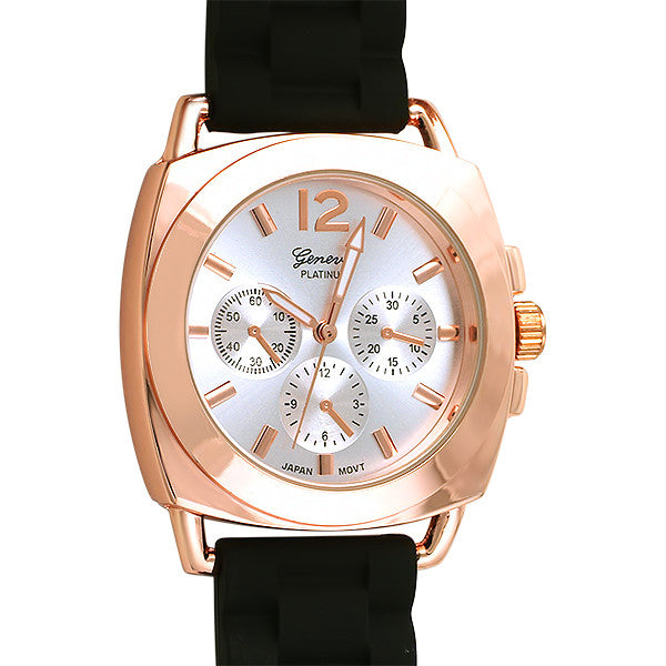 Rose Gold Sporty Italian Style Watch Rubber Strap