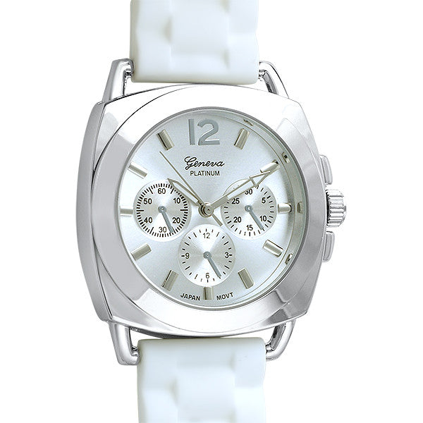 Sporty Italian Style Watch White Rubber Strap