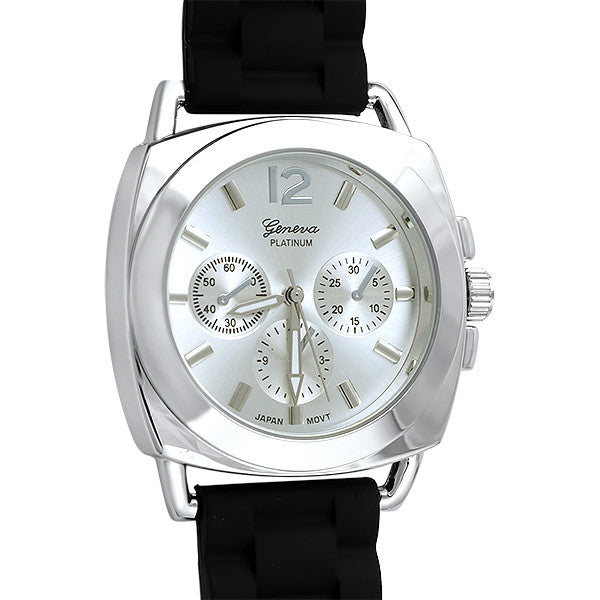 Sporty Italian Style Watch Black Rubber Strap