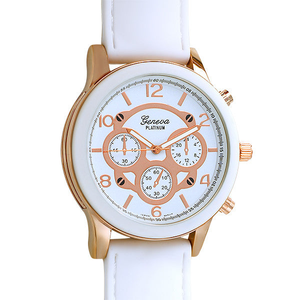Rose Gold Sporty Rubber Fashion Watch White