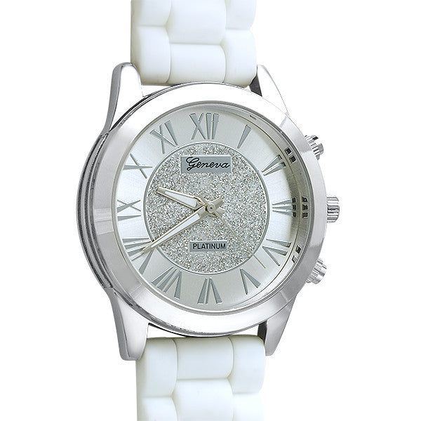 Glitzy Dial Womens Fashion Watch White