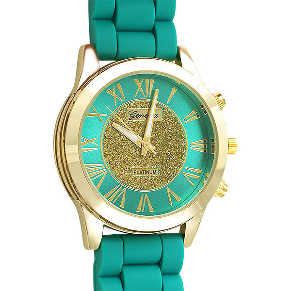 Glitzy Dial Womens Fashion Watch Green and Gold