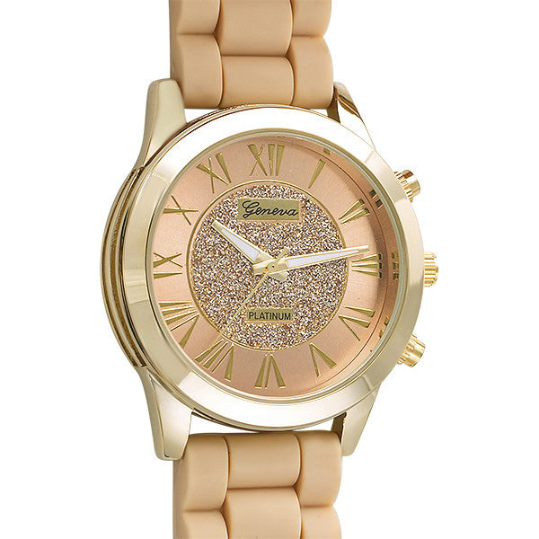 Glitzy Dial Womens Fashion Watch Tan and Gold