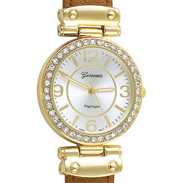 Classy Crystal Watch Gold Hardward Brown Leather