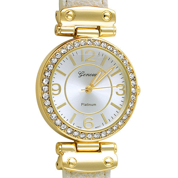 Crystal Watch Gold Hardware Off White Leather