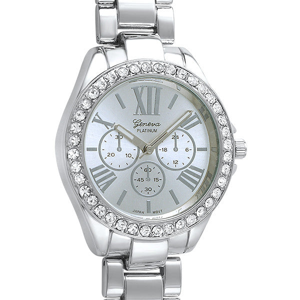 Shiny Silver Crystal Chic Fashion Watch