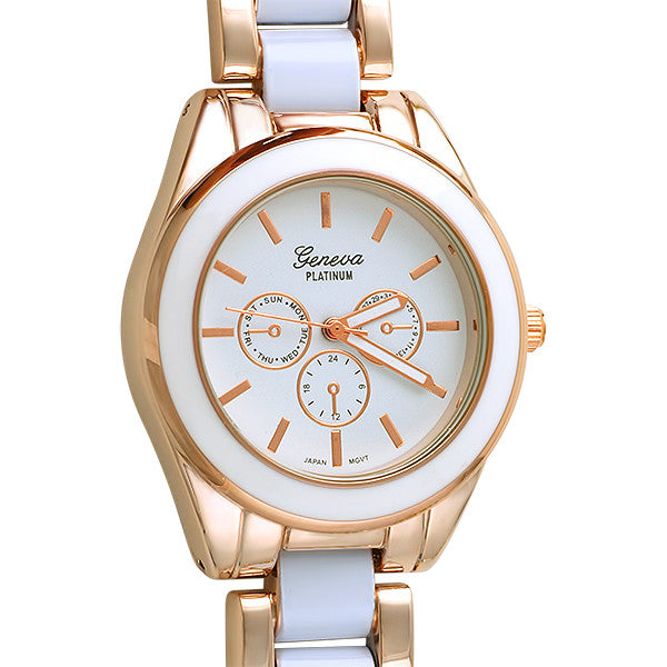 Rose Gold White Enamel Womens Fashion Watch