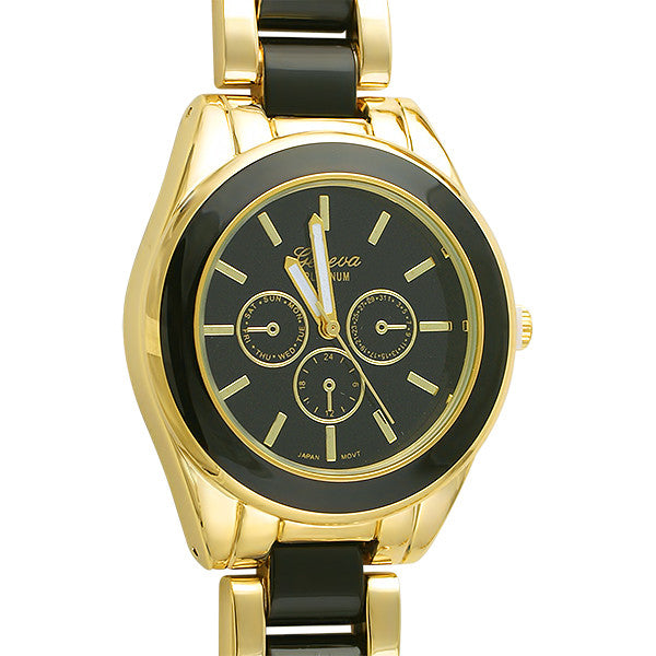 Gold and Black Enamel Womens Fashion Watch