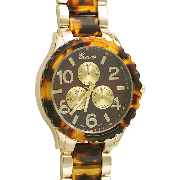 Women's Gold Tortoise Shell Big Face Watch