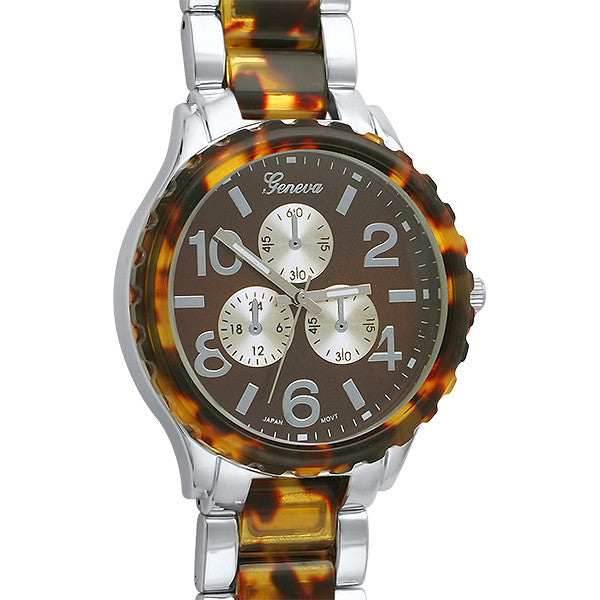 Women's Silver Tortoise Shell Big Face Watch
