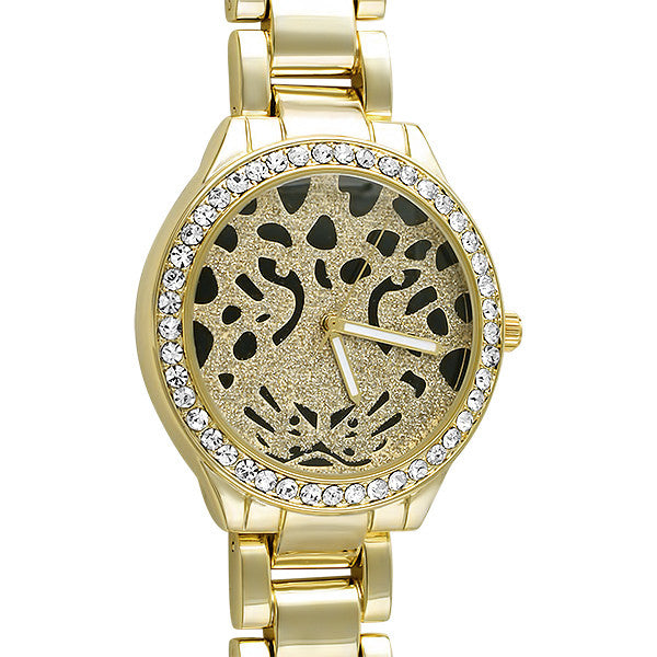 Gold Tone Cheetah Dial All Metal Watch