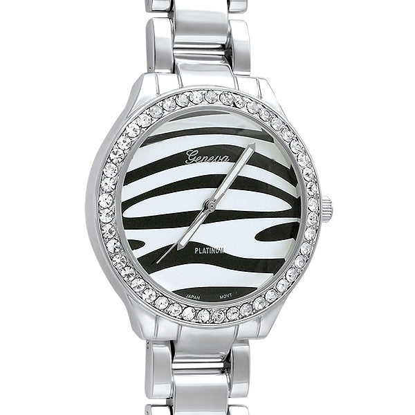 Silver Tone Zebra Dial All Metal Watch