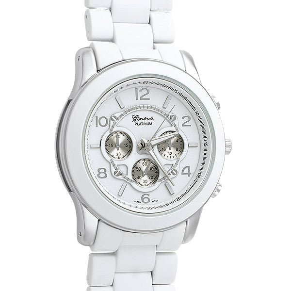 White Silver Tone Big Face Boyfriend Watch