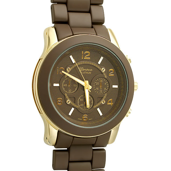 Brown and Gold Big Face Boyfriend Watch