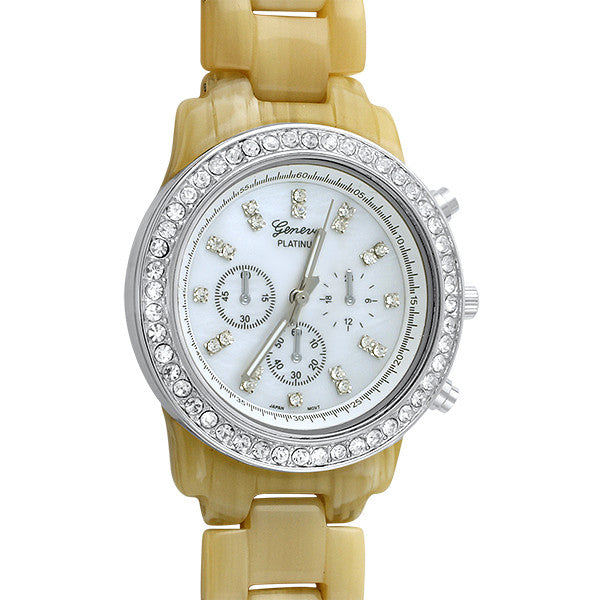 Silver Tone Bone Finish Crystal Watch
