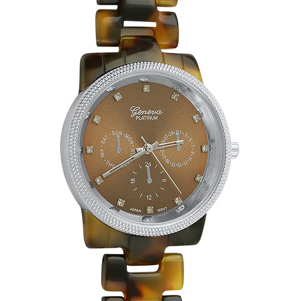 Silver Tone Tortoise Shell Fashion Watch