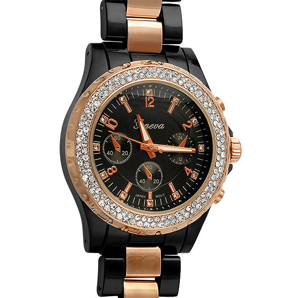 Black Ceramic Look Rose Gold Crystal Watch