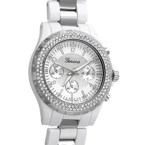 White Ceramic Look Silver Crystal Watch