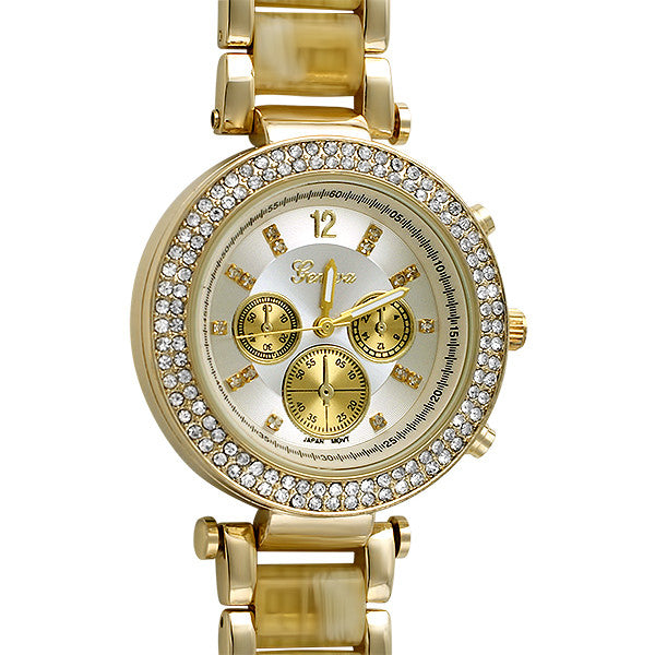 Gold Bone Finish Crystal Paris Watch