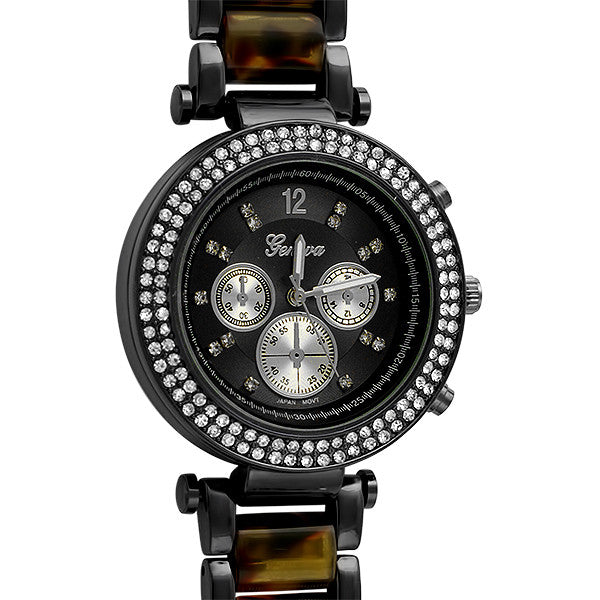 Black Tortoise Shell Crystal Paris Watch