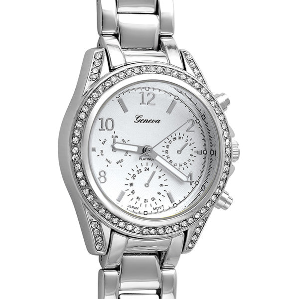 Silver Medium Face Crystal Womens Watch