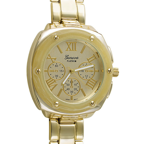 Gold Bone Finish Big Face Fashion Watch