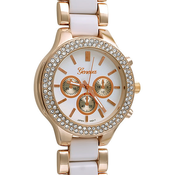 Rose Gold White Sporty Crystal Watch