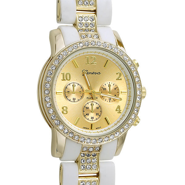 White Rubber and Gold Crystal Fashion Watch