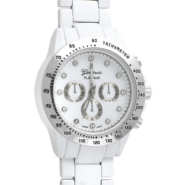 White Rubberized Racer Fashion Watch