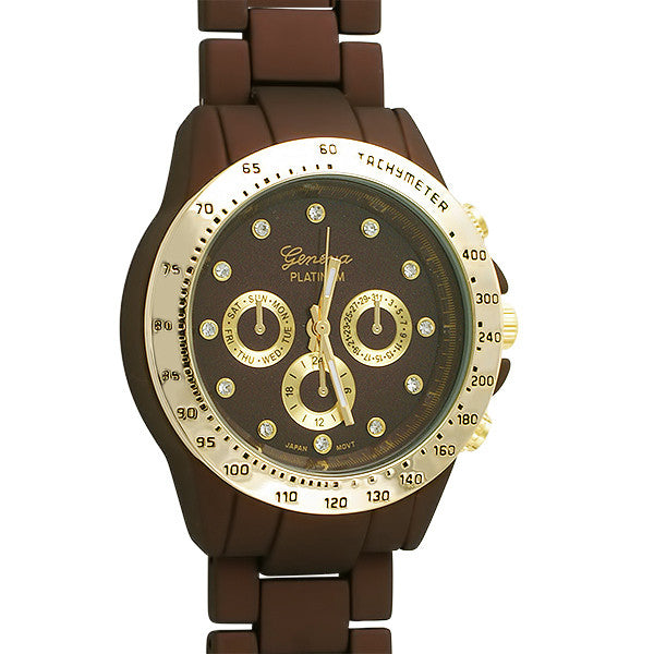 Brown and Gold Rubberized Fashion Watch