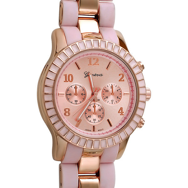 Pink Rose Gold Sporty Fashion Watch