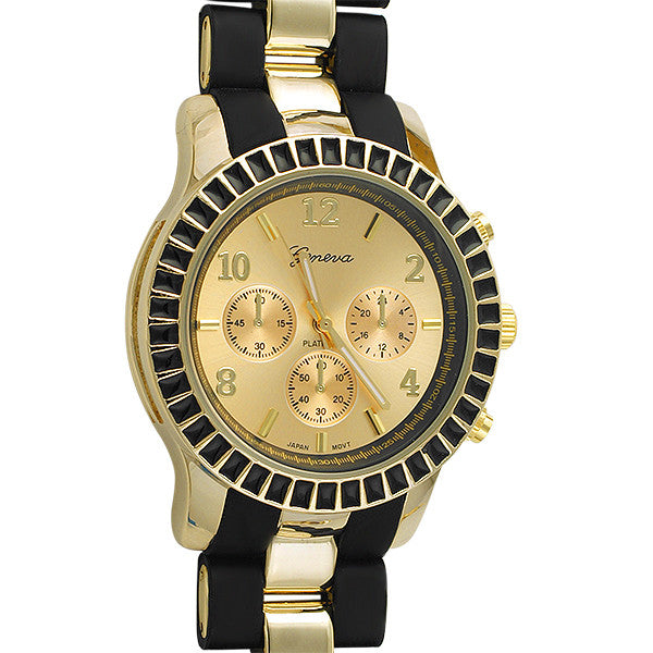Black and Gold Sporty Fashion Watch