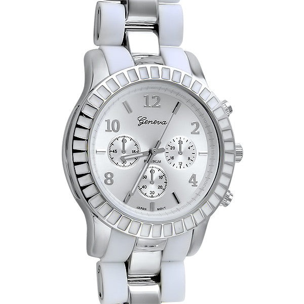 White and Silver Sporty Fashion Watch