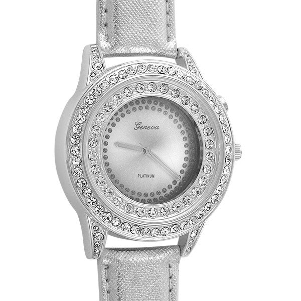 Silver Finish Light up Dial Crystal Watch
