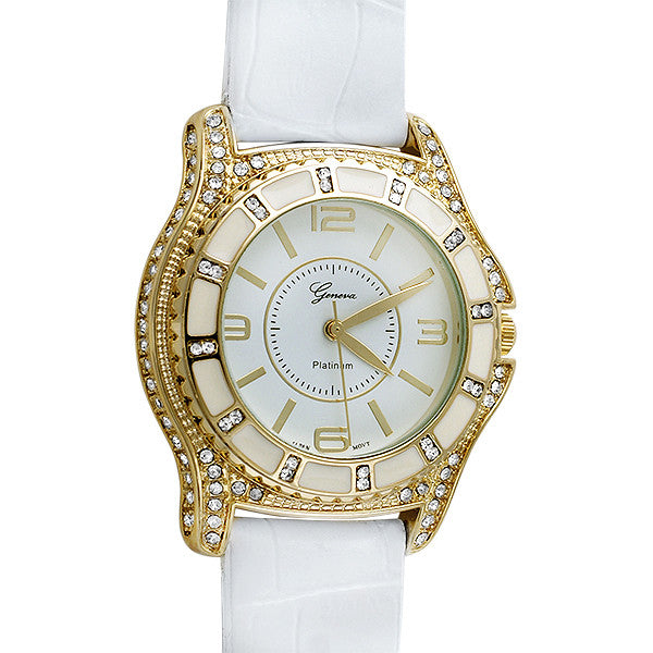 Gold Full Crystal White Leather Sport Watch