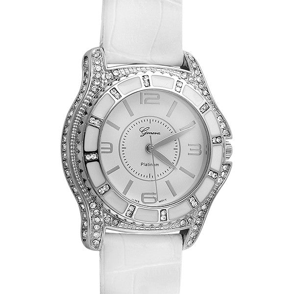 Silver Full Crystal White Leather Sport Watch