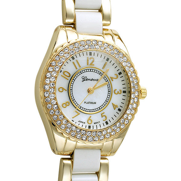 Shiny Gold and White Crystal Fashion Watch