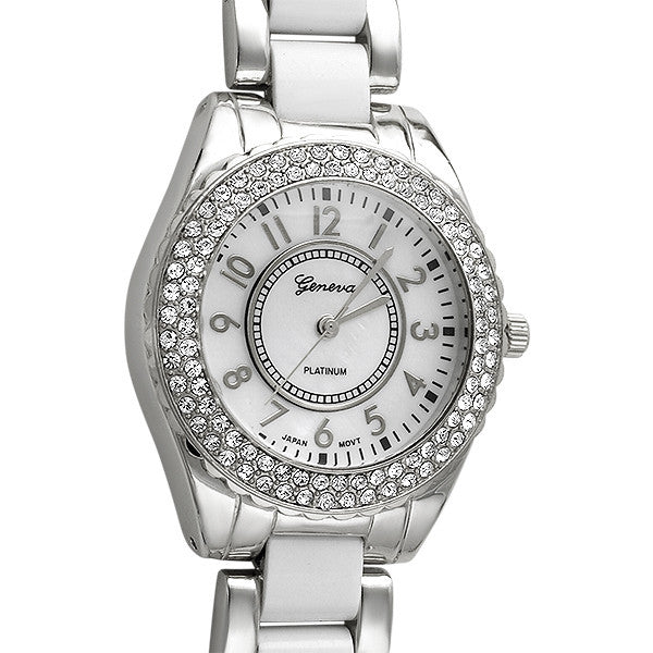 Shiny Silver and White Crystal Fashion Watch