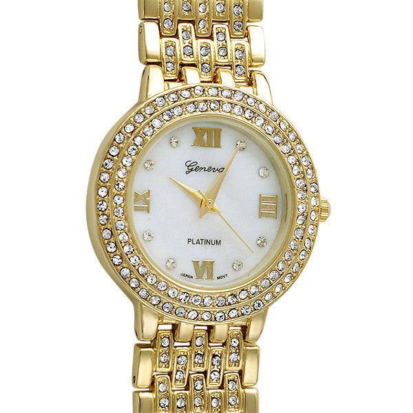 Gold Classy Mother of Pearl Crystal Watch